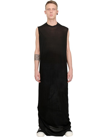 Lyst - Rick Owens Cotton Jersey Extra Long Tshirt in Black for Men 6bf0c4ddd35