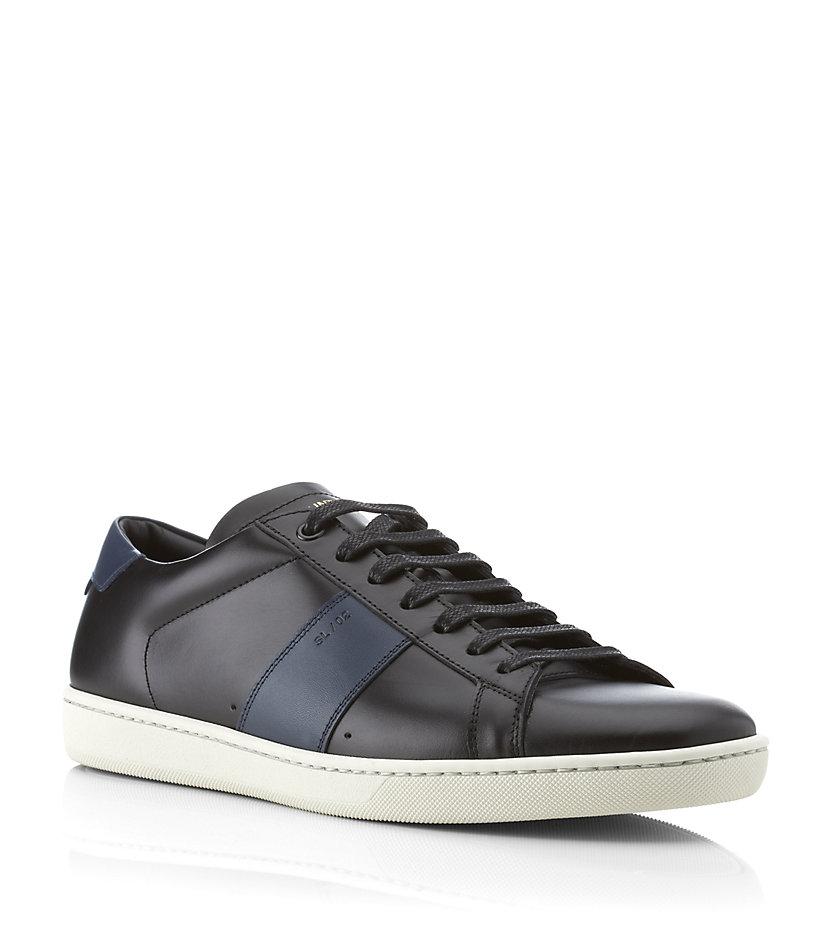 saint laurent sl02 leather sneaker in black for men lyst. Black Bedroom Furniture Sets. Home Design Ideas