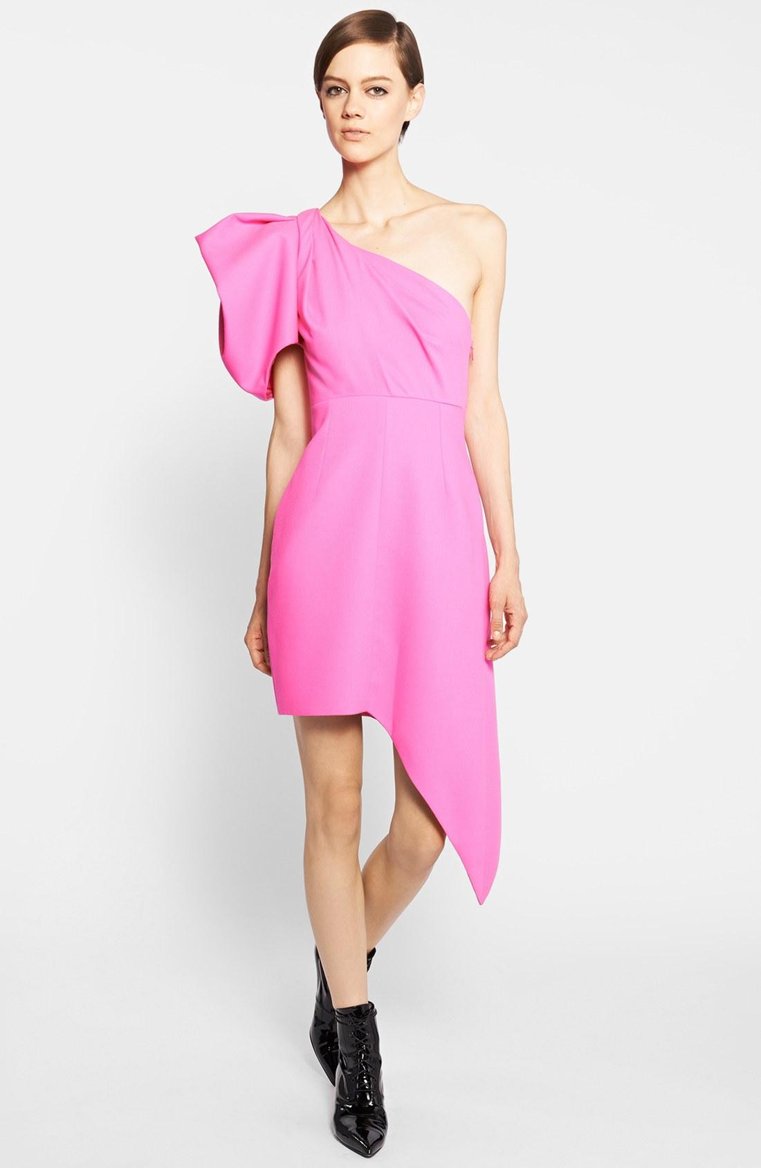 Hot Pink One Shoulder Dress | Dress images