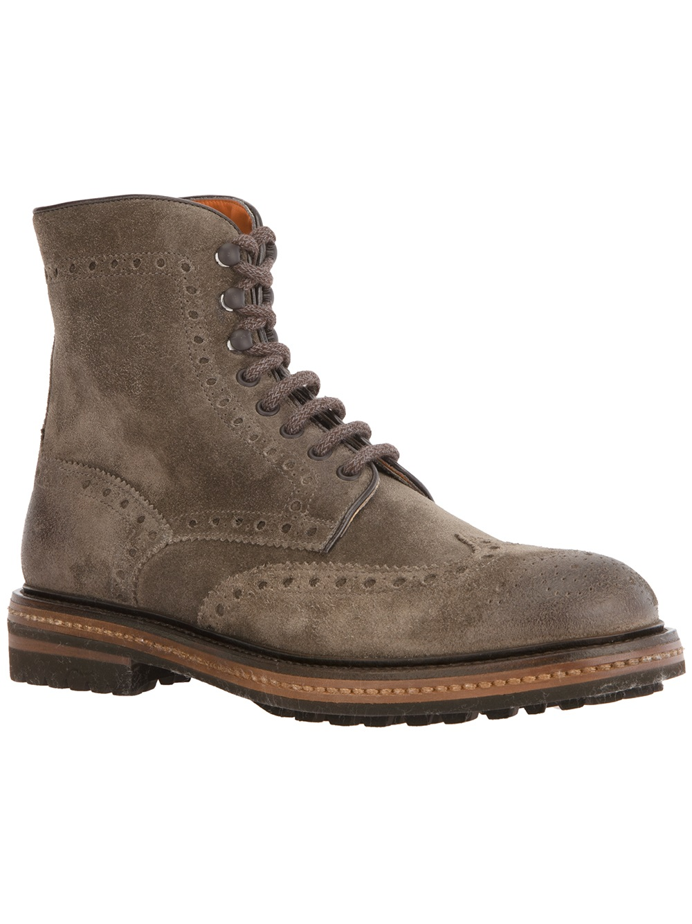 santoni laceup boot in gray for grey lyst