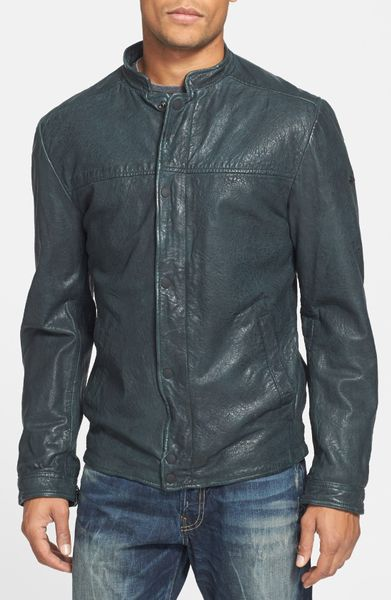 scotch soda in between leather jacket in green for men. Black Bedroom Furniture Sets. Home Design Ideas
