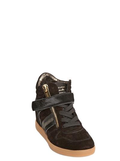 Serafini 60mm Ponyskin and Suede Wedge Sneakers in Black