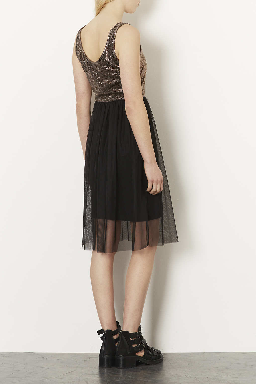 Topshop Vest Lurex Tulle Midi Dress In Gold Black Lyst