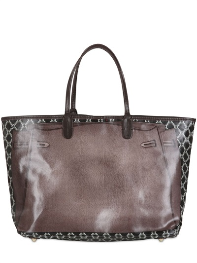 V73 The City Printed Cotton Small Tote in Brown