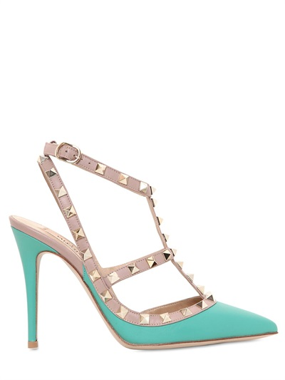 Lyst Valentino 100mm Rockstud Leather Pumps In Blue