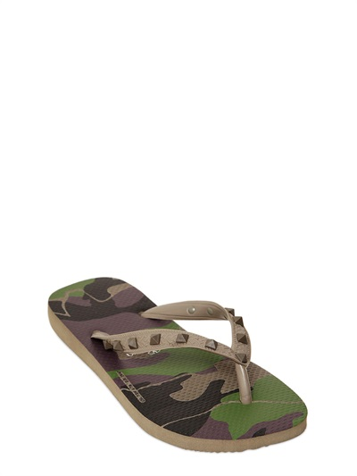Lyst - Valentino Rubber Camouflage Studded Flip Flops In Green-6259