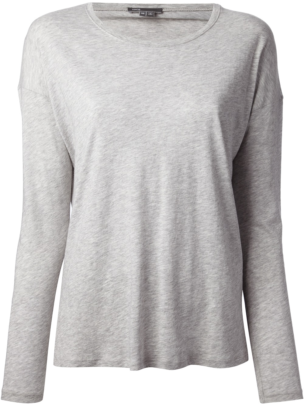 Vince long sleeve t shirt in gray grey lyst for Grey long sleeve shirts