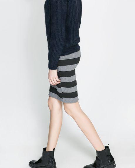 zara pencil skirt in gray light grey marl lyst