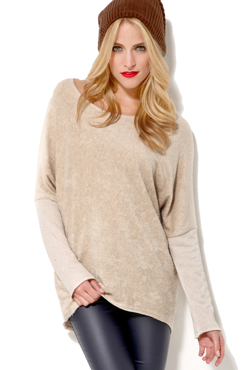 akira oversized tunic sweater in beige lyst. Black Bedroom Furniture Sets. Home Design Ideas