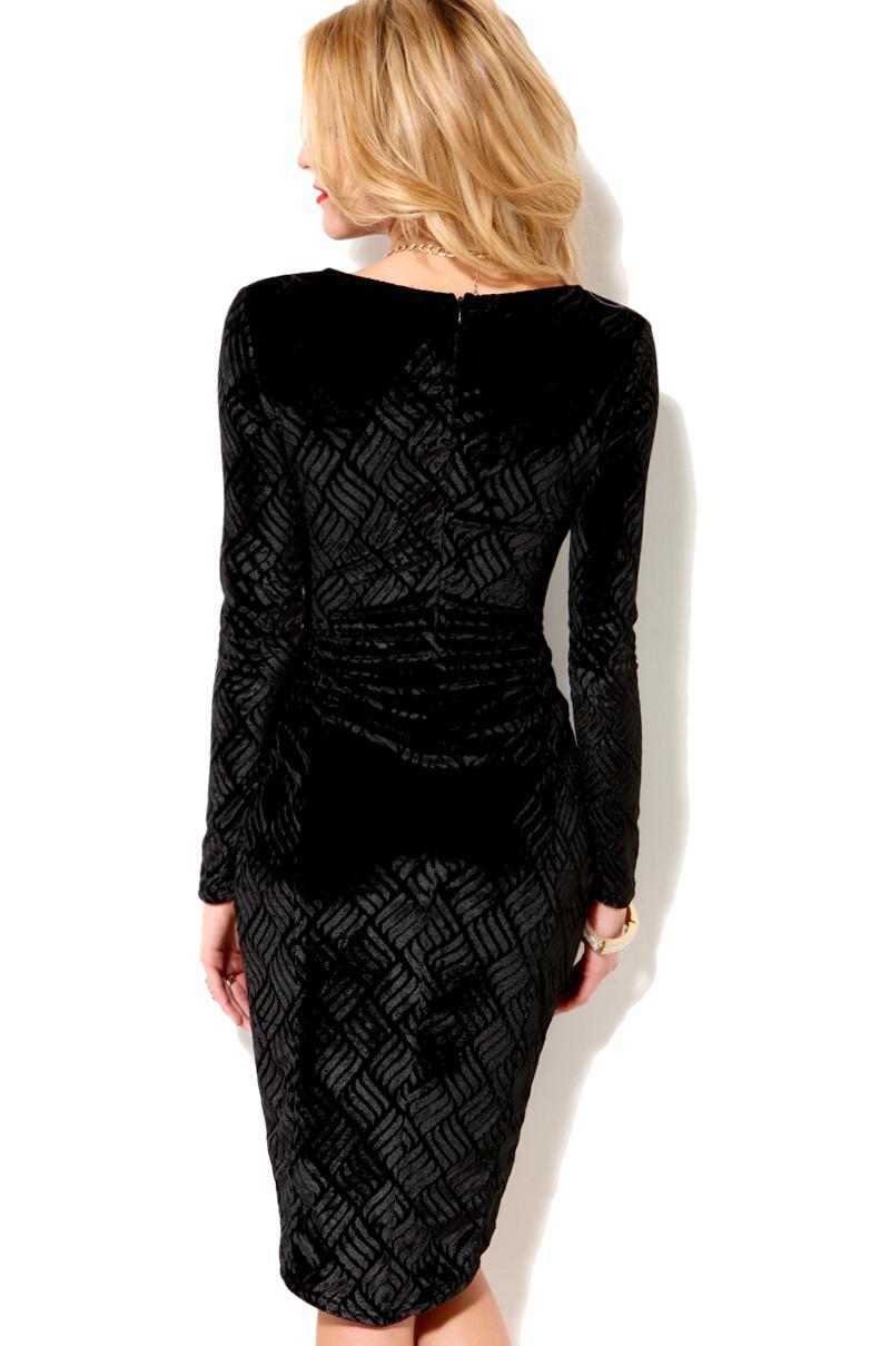 Akira Velvet Burnout Drape Dress In Black Lyst