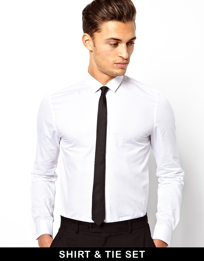 lyst asos smart shirt and tie set save 13 in white for men
