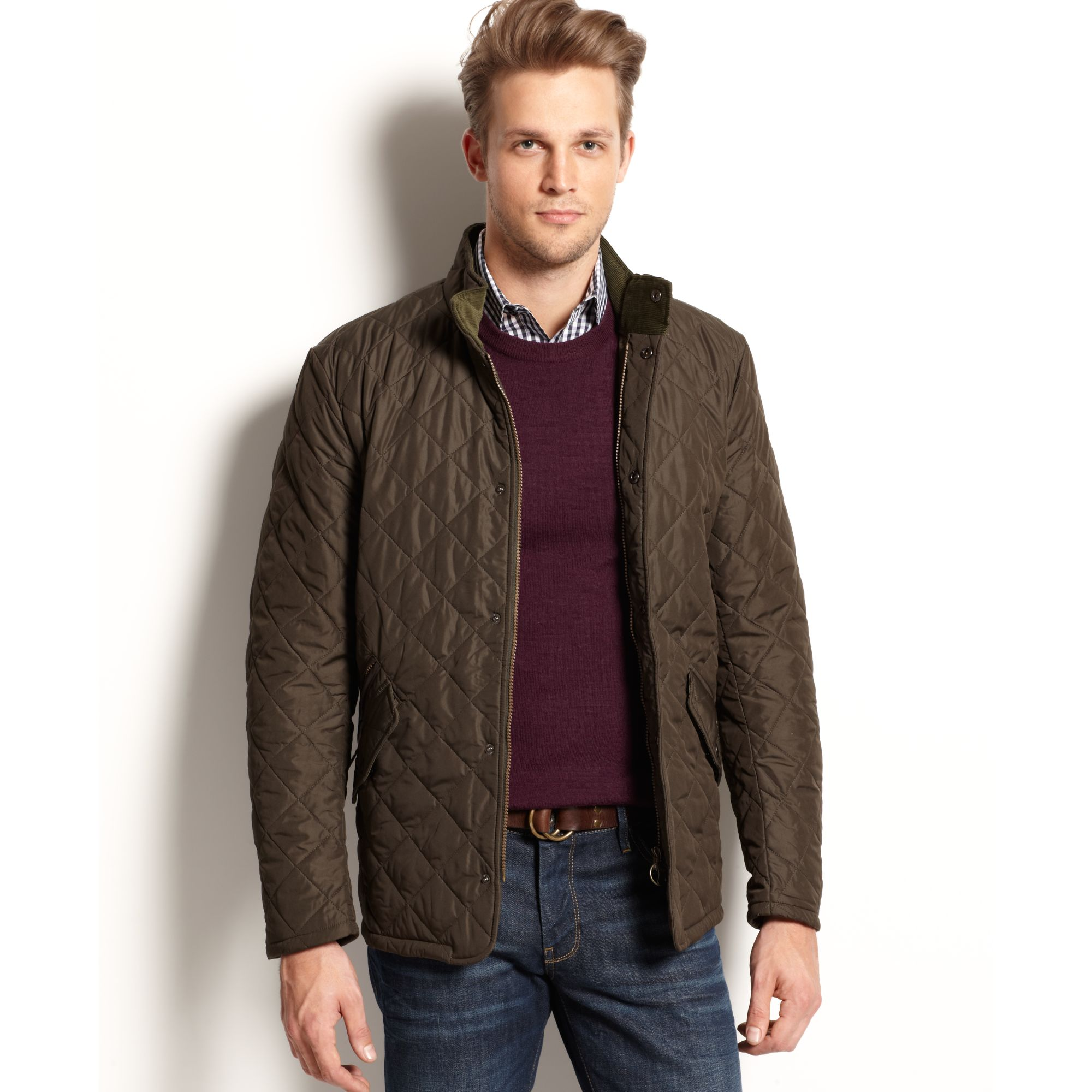 Lyst barbour chelsea sport quilted jacket in green for men for Quilted jackets for men