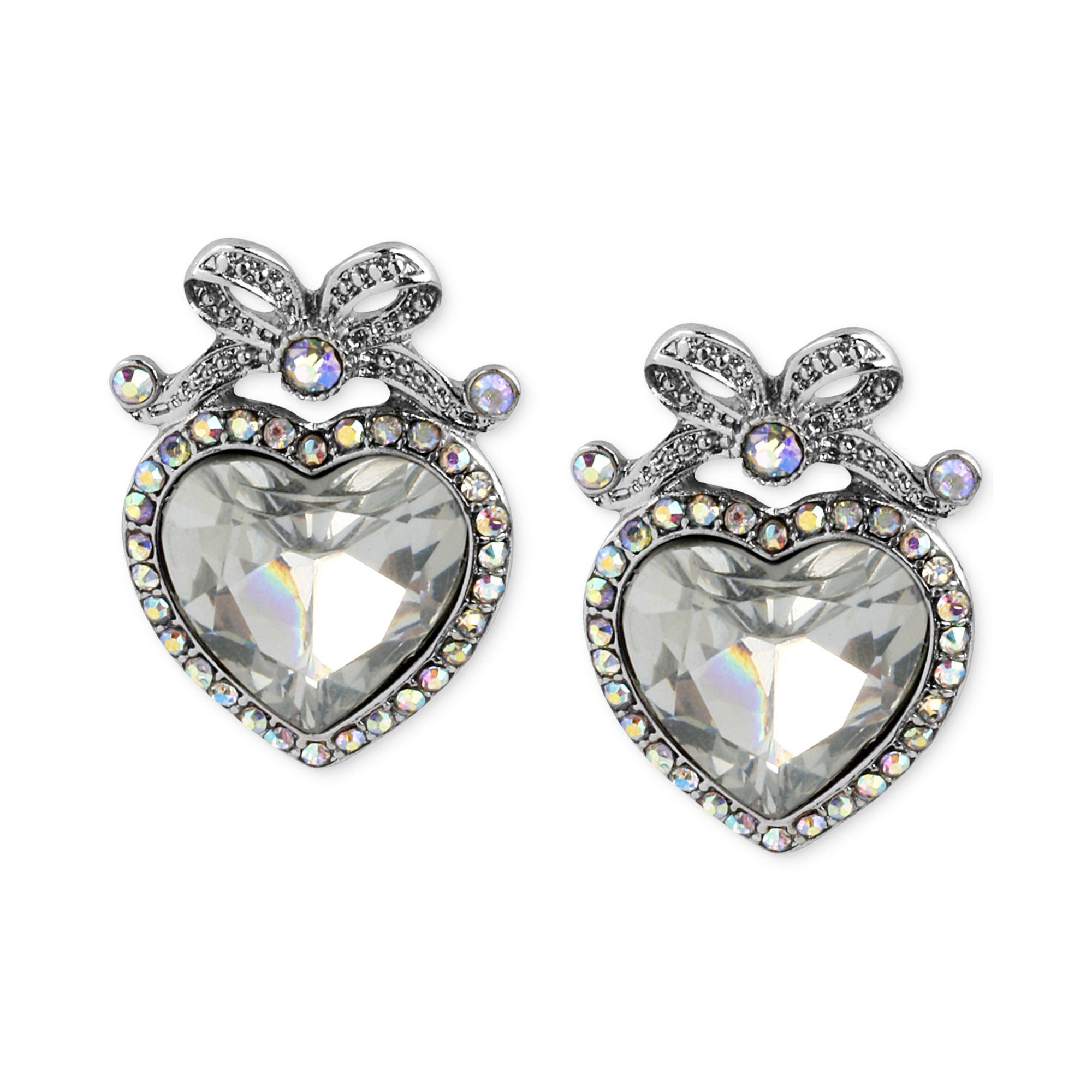 Betsey johnson Crystal Heart Bow Stud Earrings in Silver ...