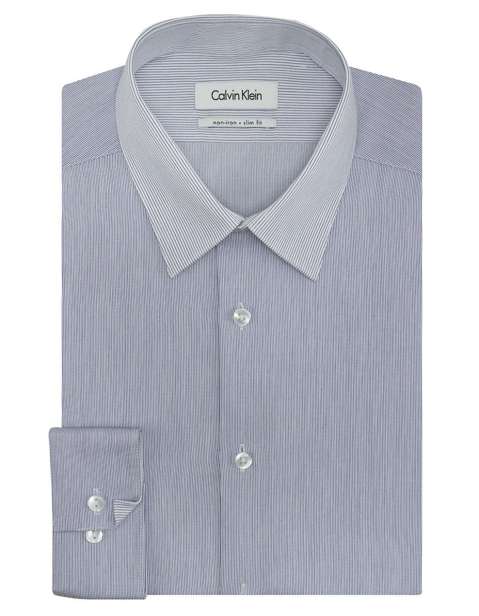 Calvin Klein Pinstripe Non Iron Slim Fit Dress Shirt In