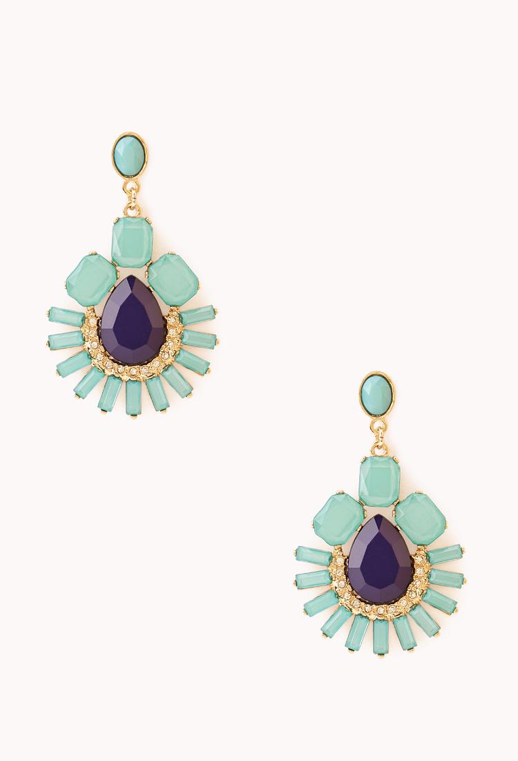 Lyst forever 21 sweet side dangle earrings in green for Forever 21 jewelry earrings