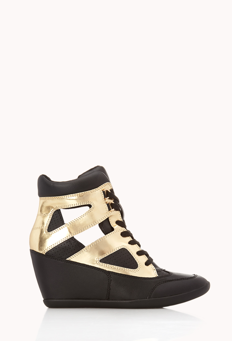 Forever 21 Clear Cut Wedge Sneakers in