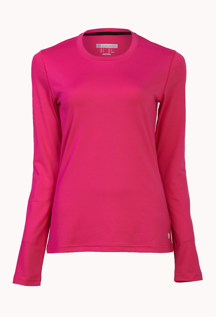 Forever 21 long sleeve run top in pink lyst for Hot pink running shirt