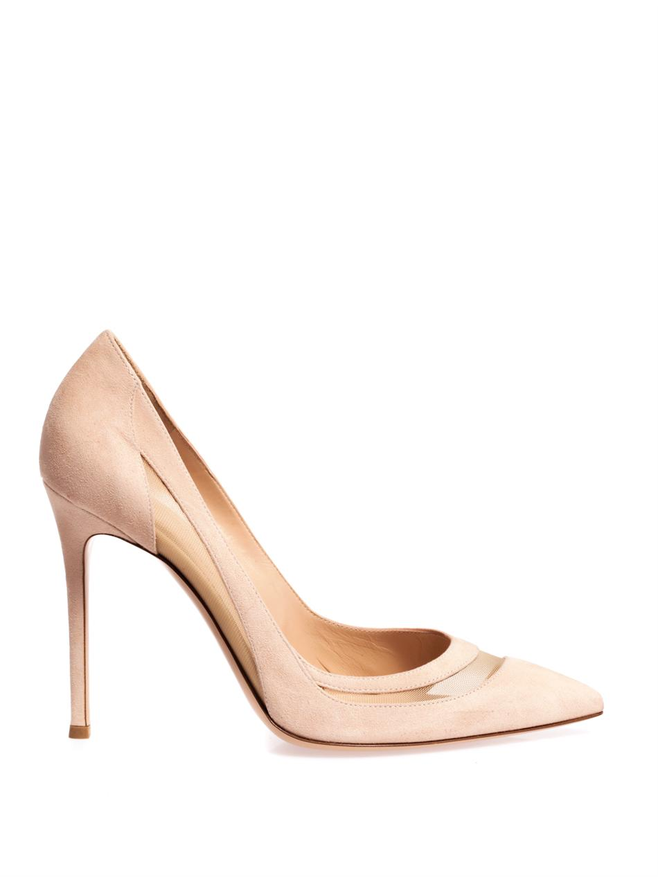 2d25bc6b7623 Lyst - Gianvito Rossi Suede Mesh Insert Pumps in Natural