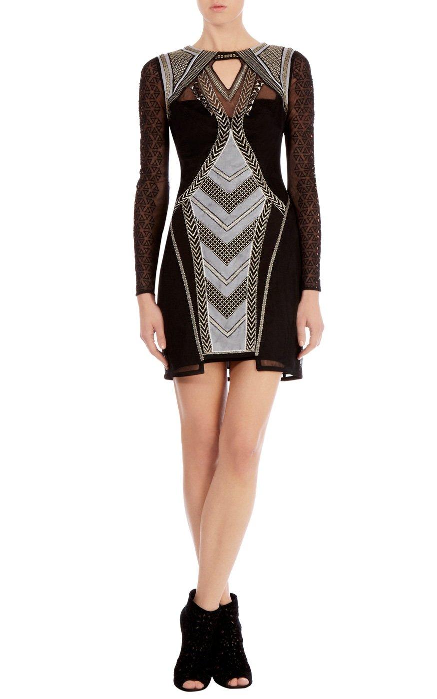 Size karen millen embroidered bodycon dress