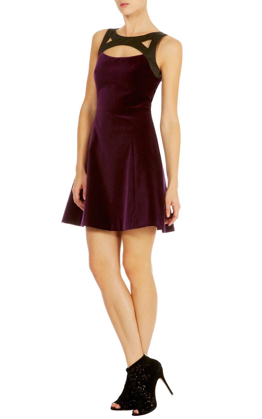 Karen Millen Cute Velvet Dress In Purple Lyst