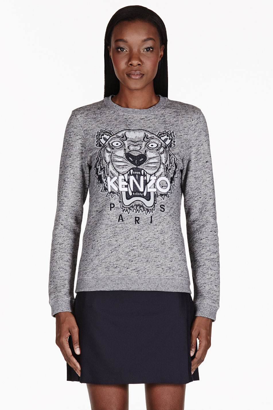 kenzo grey melange embroidered tiger sweater in gray lyst. Black Bedroom Furniture Sets. Home Design Ideas