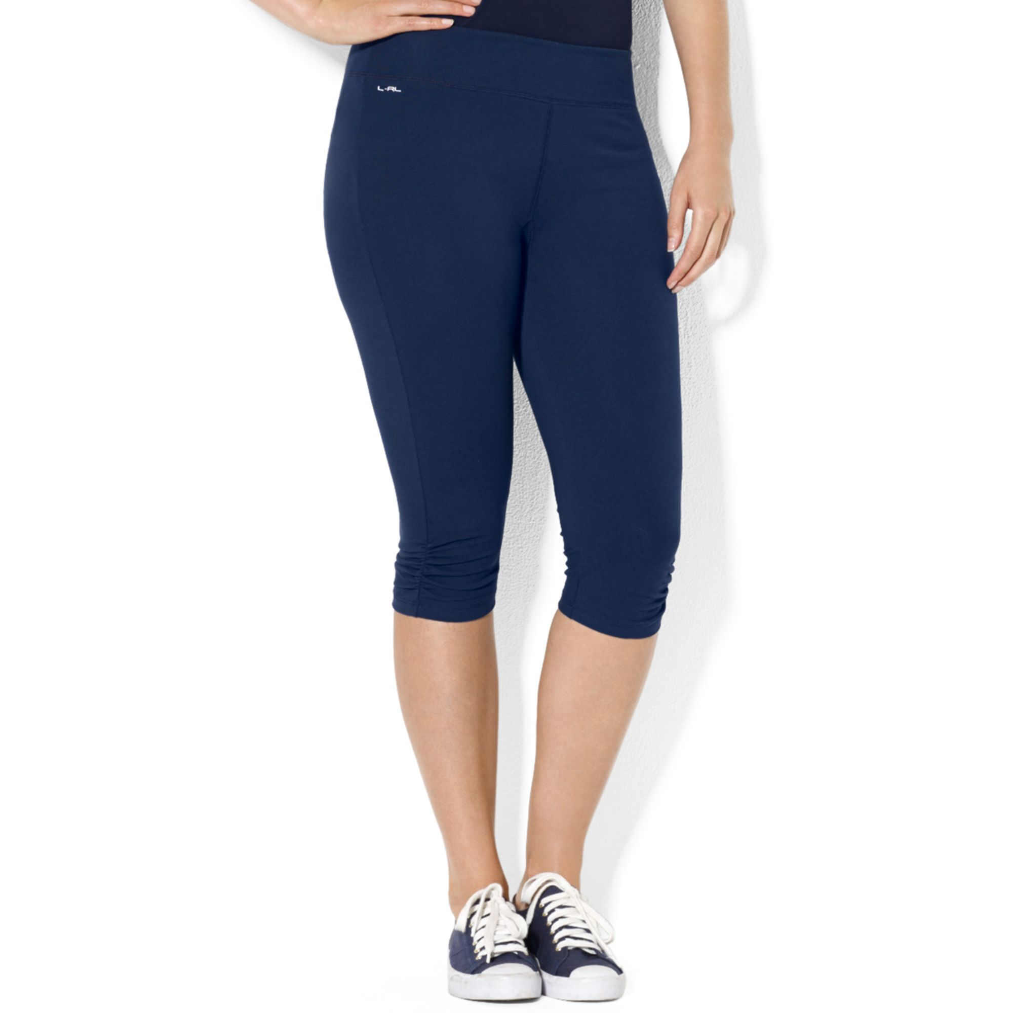 Lauren by ralph lauren Plus Size Cropped Ruched Leggings in Blue ...