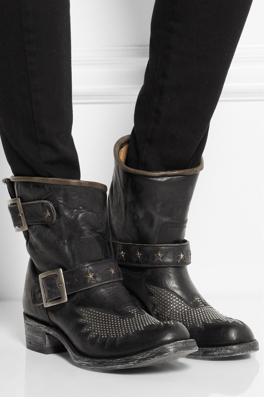 mexicana iron eagle studded distressed leather ankle boots