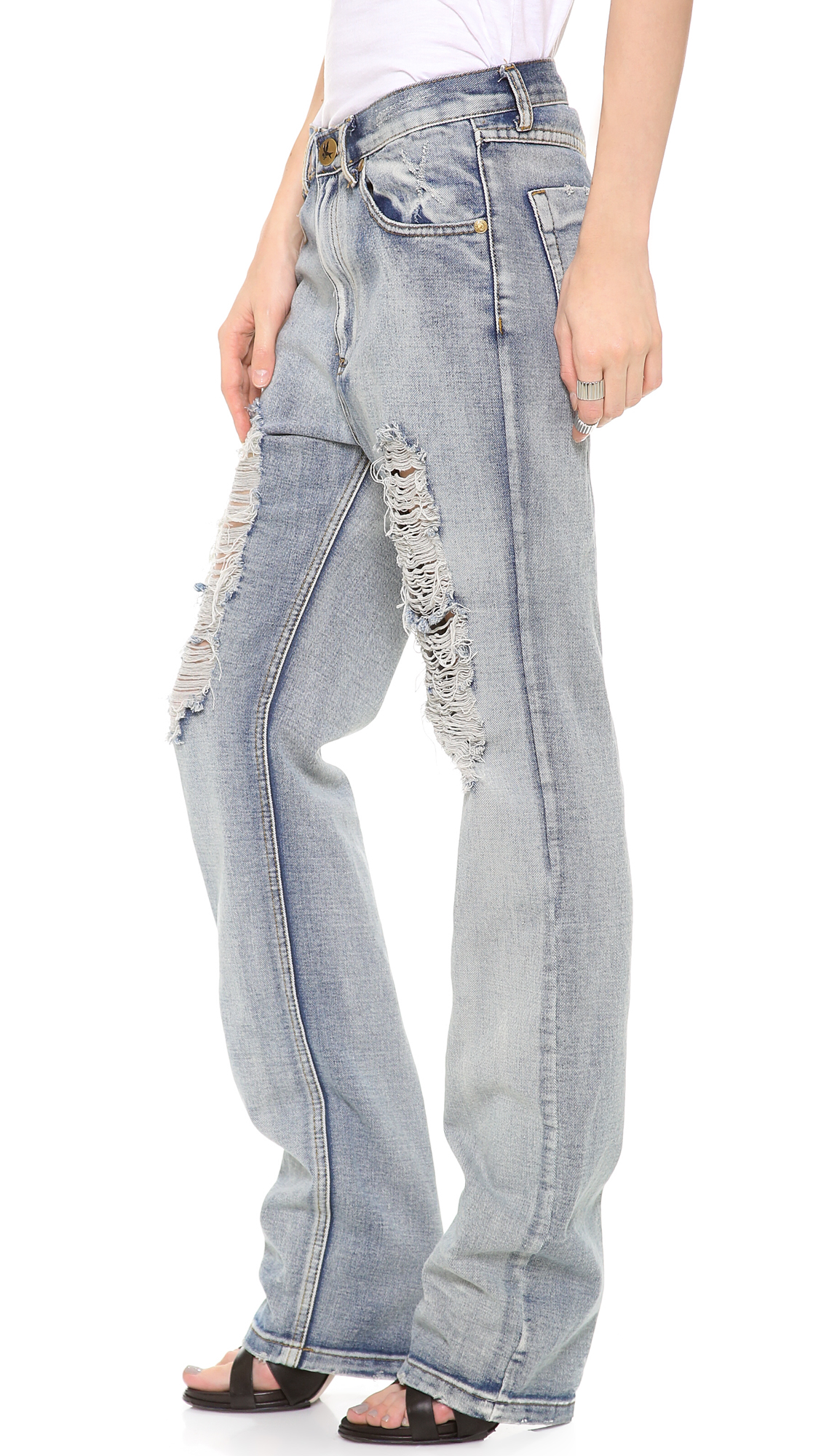 lyst one teaspoon super baggy jeans in blue