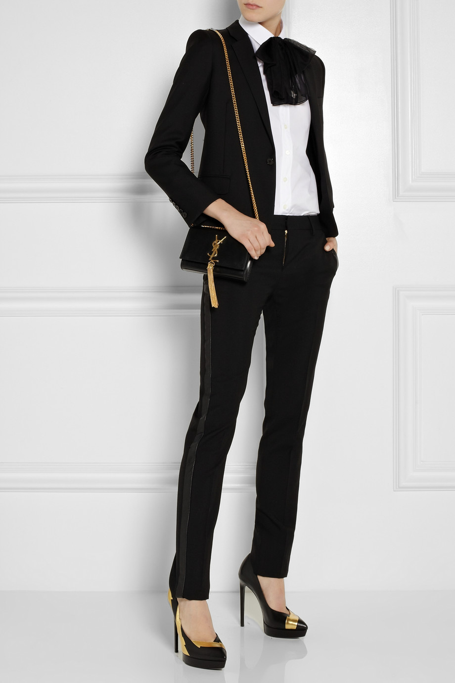 16204105e4c8 Saint Laurent Cassandre Leather Shoulder Bag in Black - Lyst