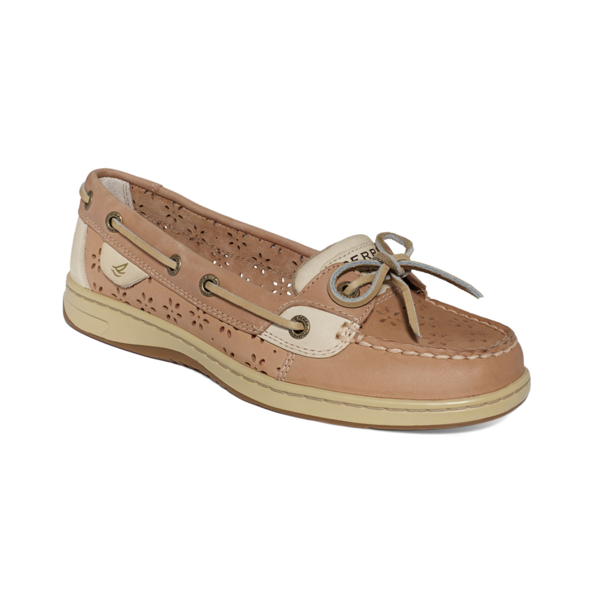 Sperry top sider womens angel fish boat shoes in beige for Best boat shoes for fishing