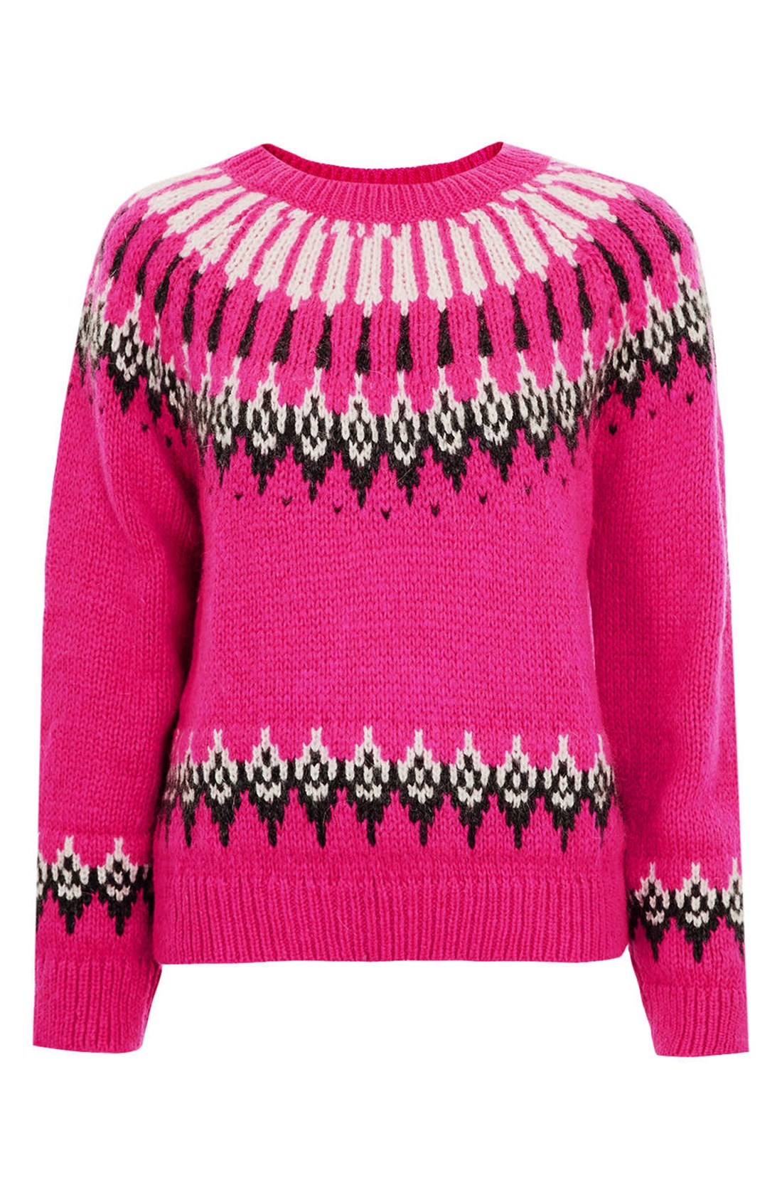 Topshop Peacock Fair Isle Knit Sweater in Pink | Lyst