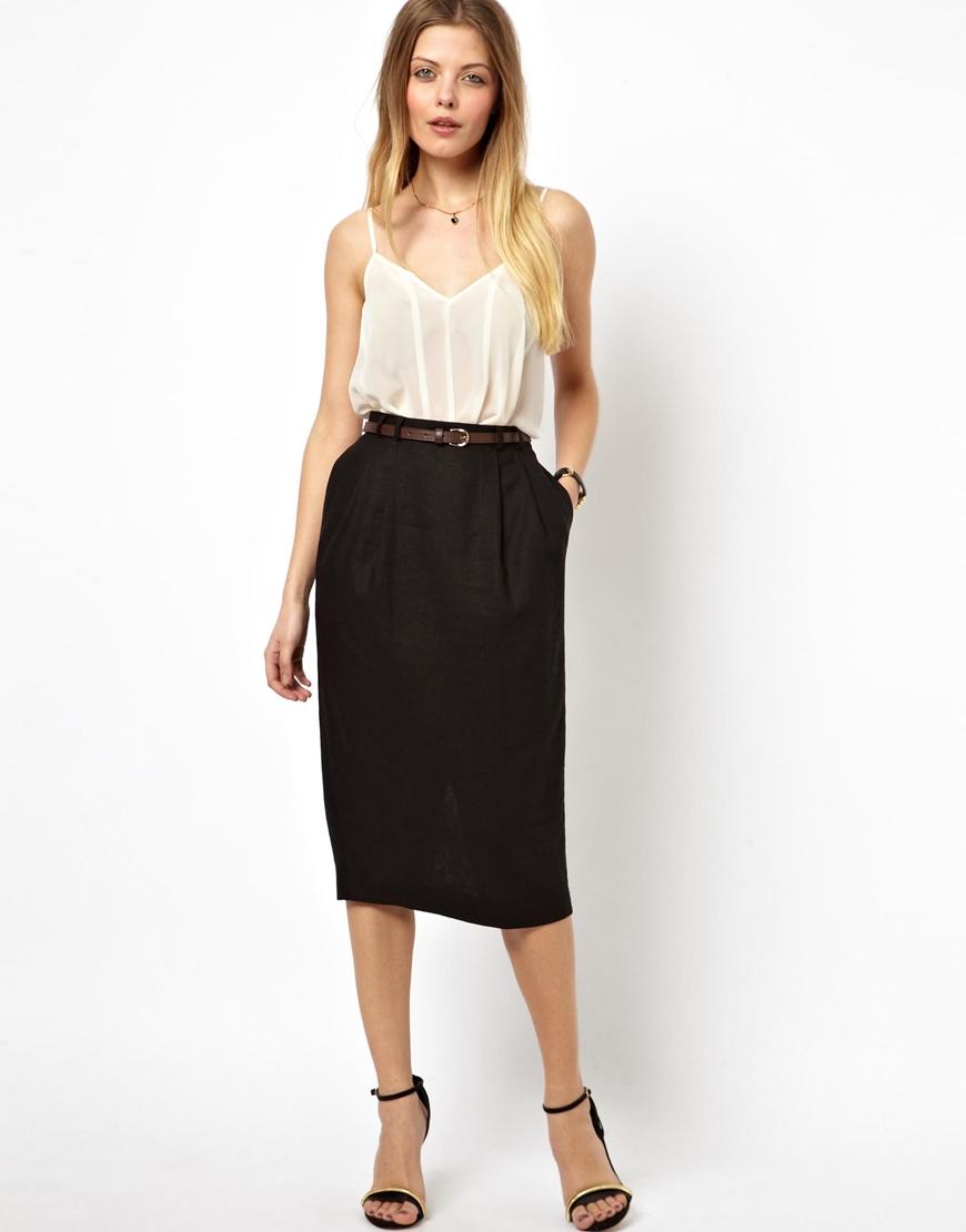 Asos Linen Pencil Skirt With Belt in Black | Lyst