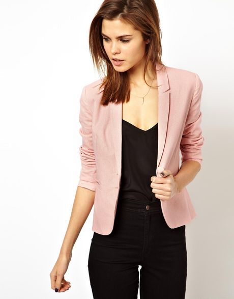 asos linen tailored blazer in pink nude lyst. Black Bedroom Furniture Sets. Home Design Ideas
