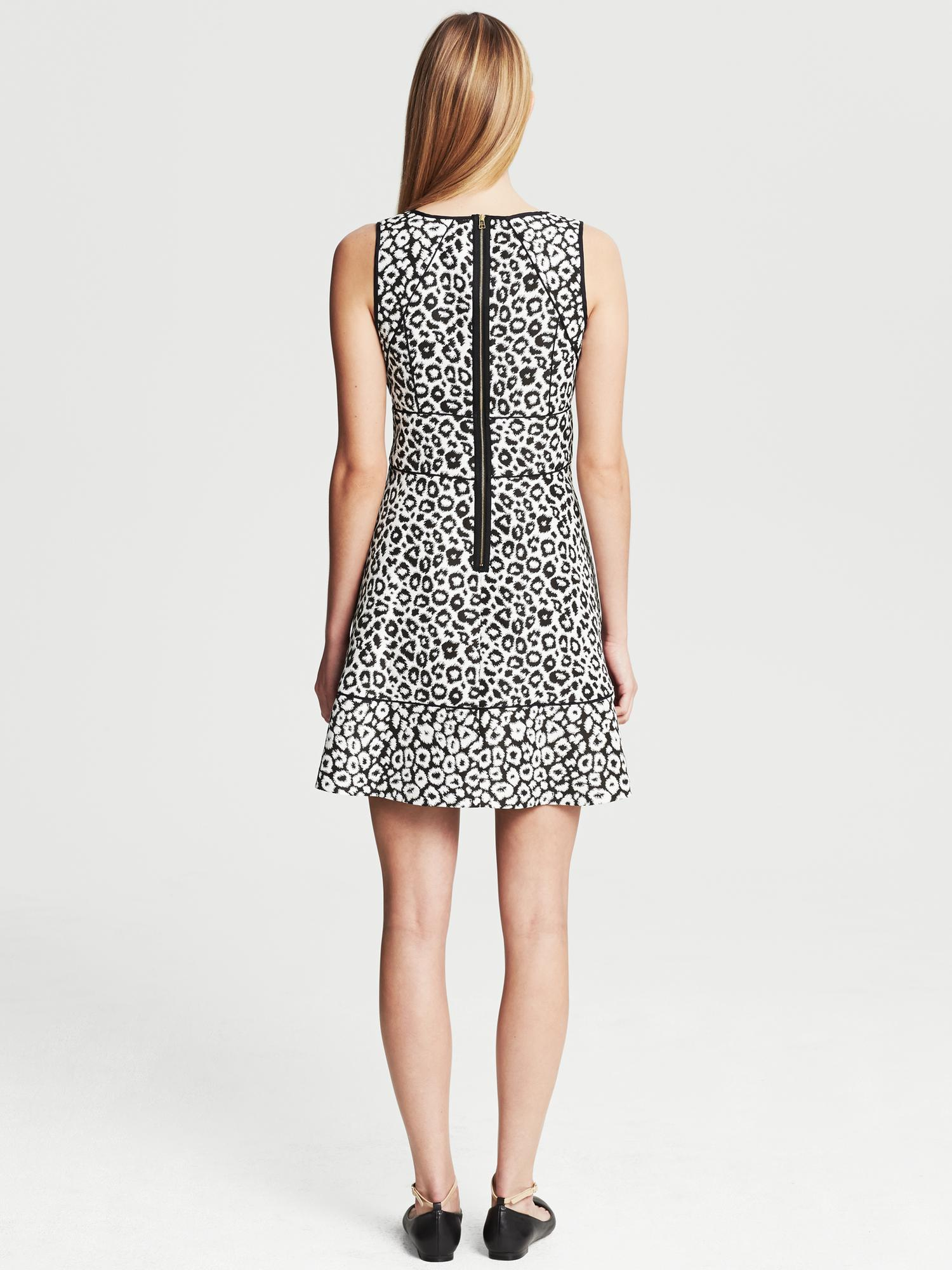Banana Republic Leopard Jacquard Fit And Flare Dress Black