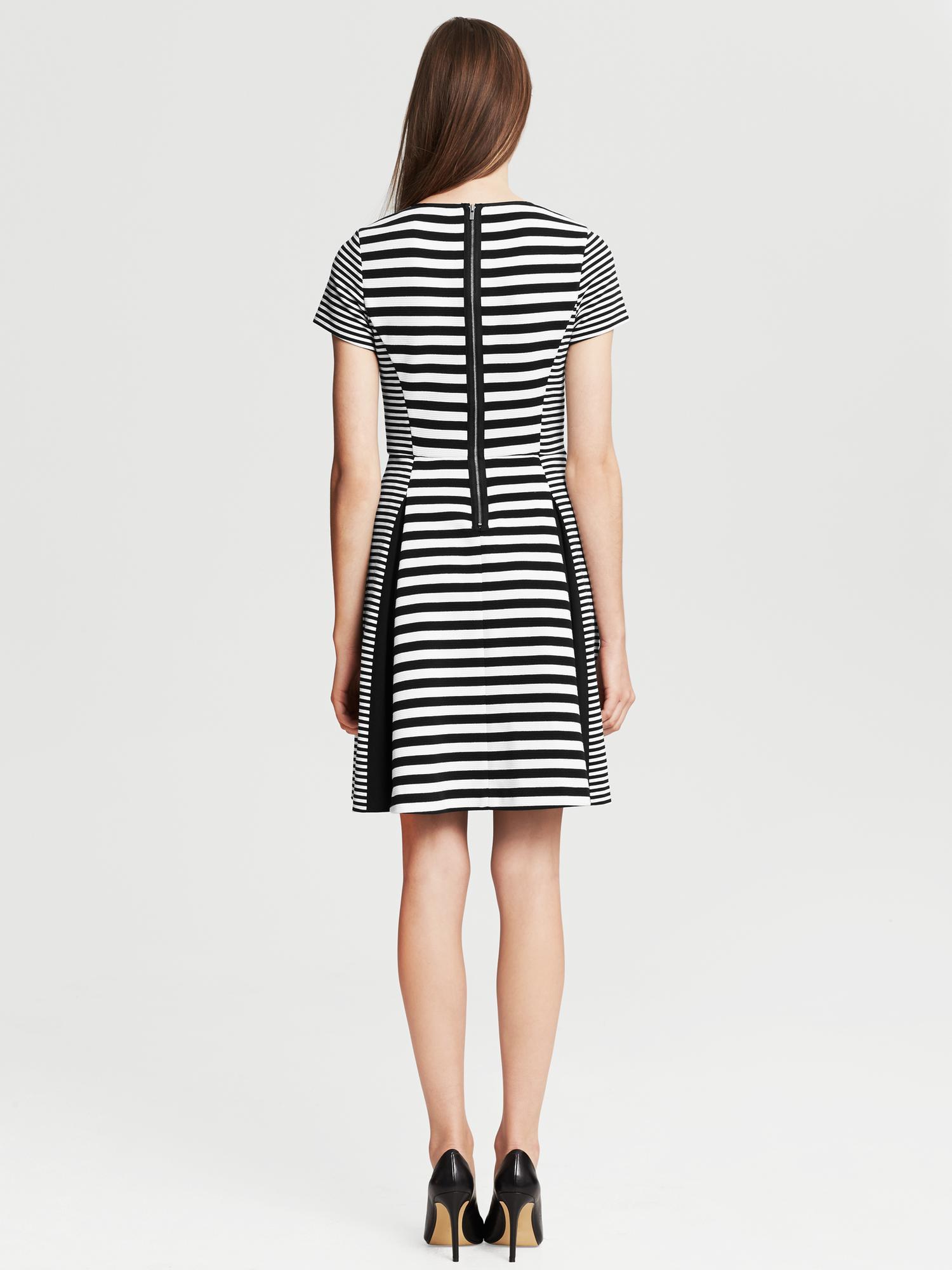 Banana Republic Mixed Stripe Fit And Flare Dress Black