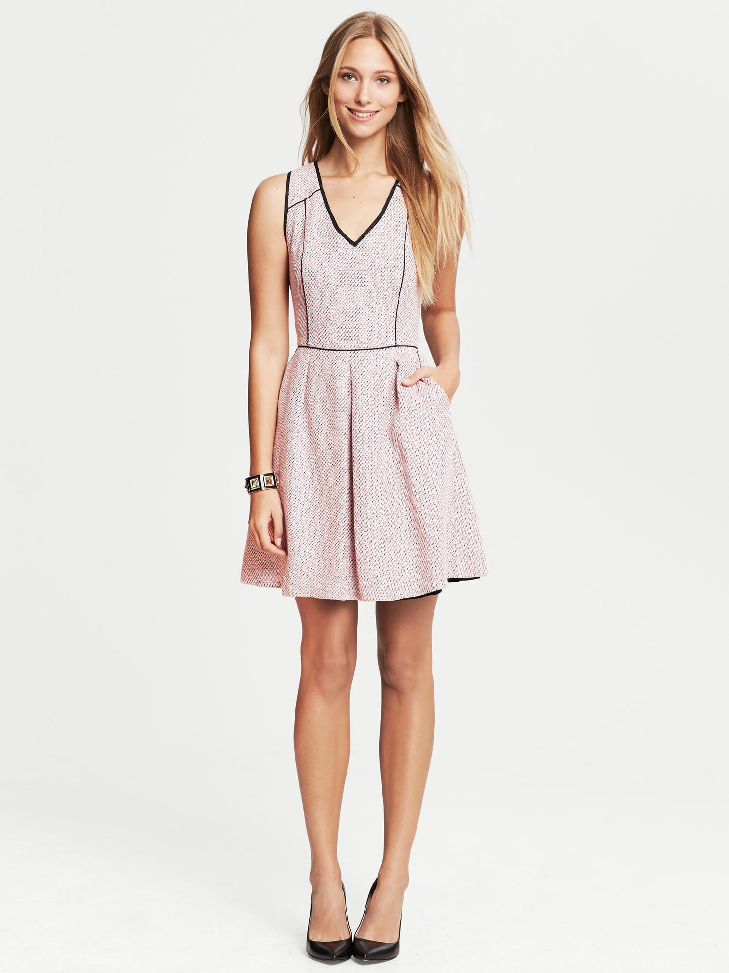 Banana Republic Piped Tweed Fit And Flare Dress Pink Lyst