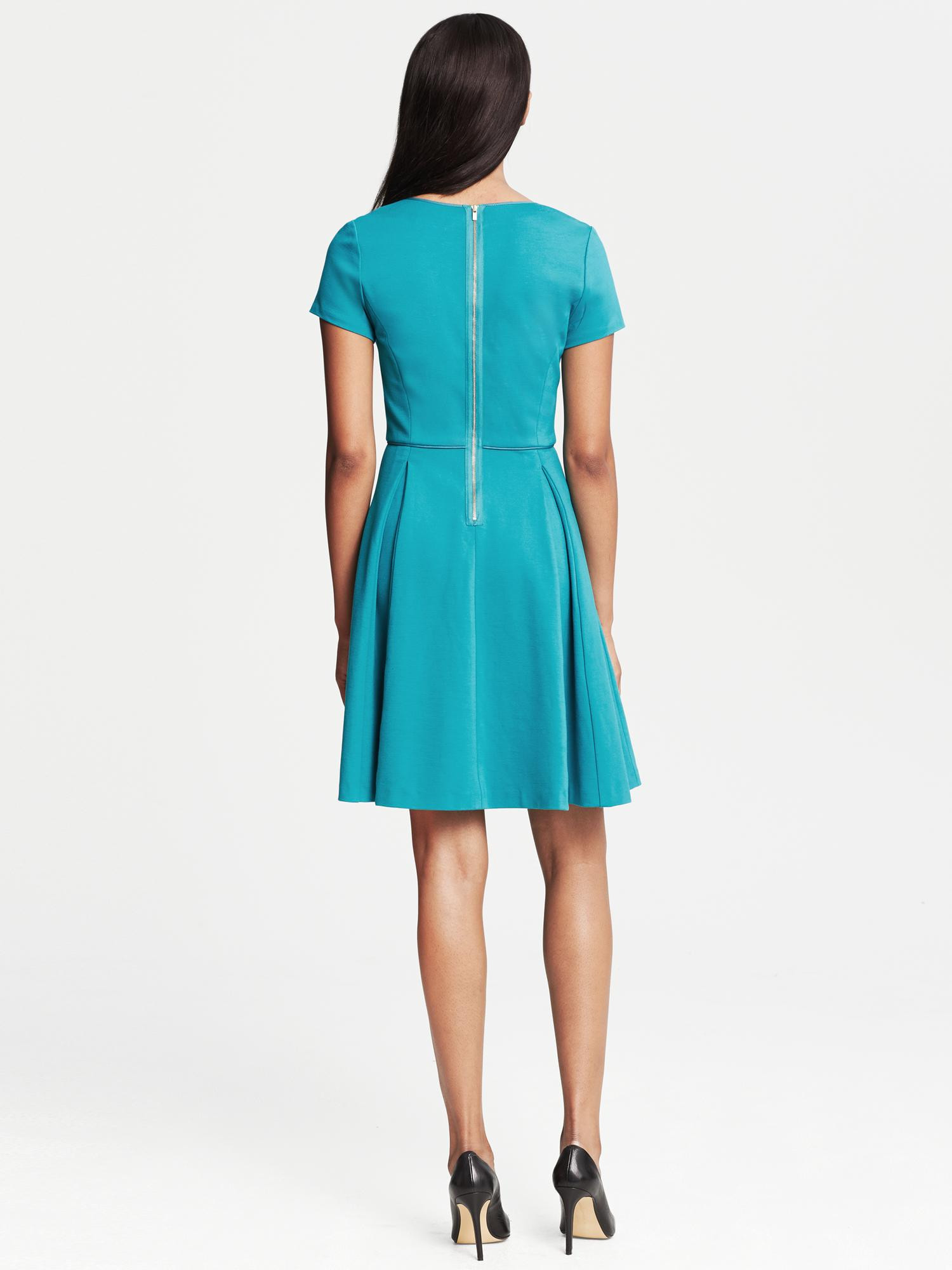 Banana Republic Ponte Pleated Fit And Flare Dress Winter