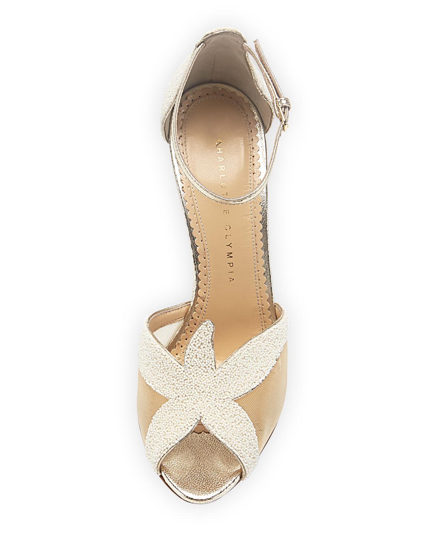 olympia sandrine beaded starfish sandal pearl in