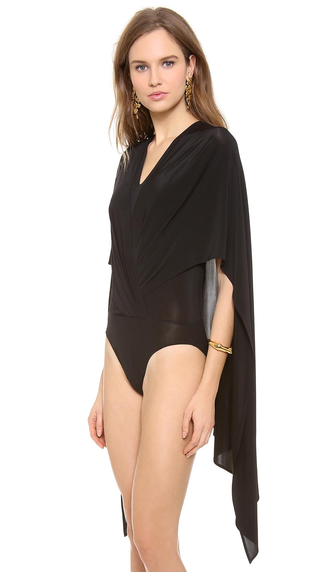 Gallery - Donna Karan Sleeveless V Cape Bodysuit In Black Lyst