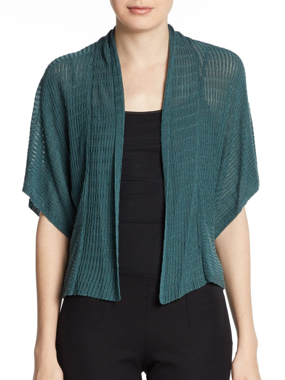 Eileen fisher Cropped Ripple Knit Cardigan in Green Lyst