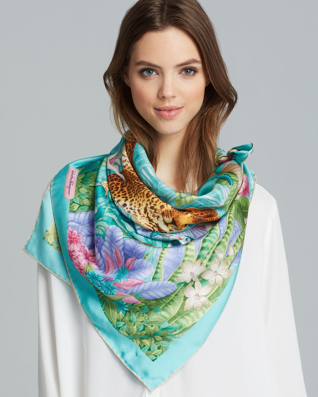 ferragamo erede silk scarf in blue lyst