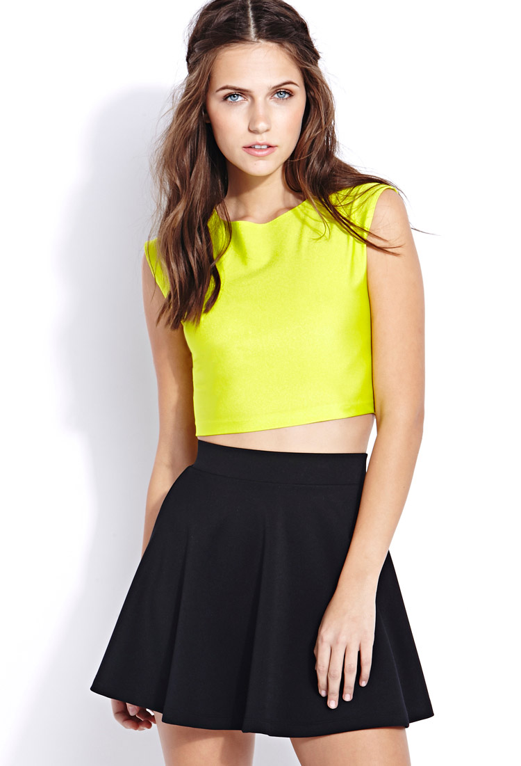 77f60f33005 Lyst - Forever 21 Shine On Sleeveless Crop Top in Green