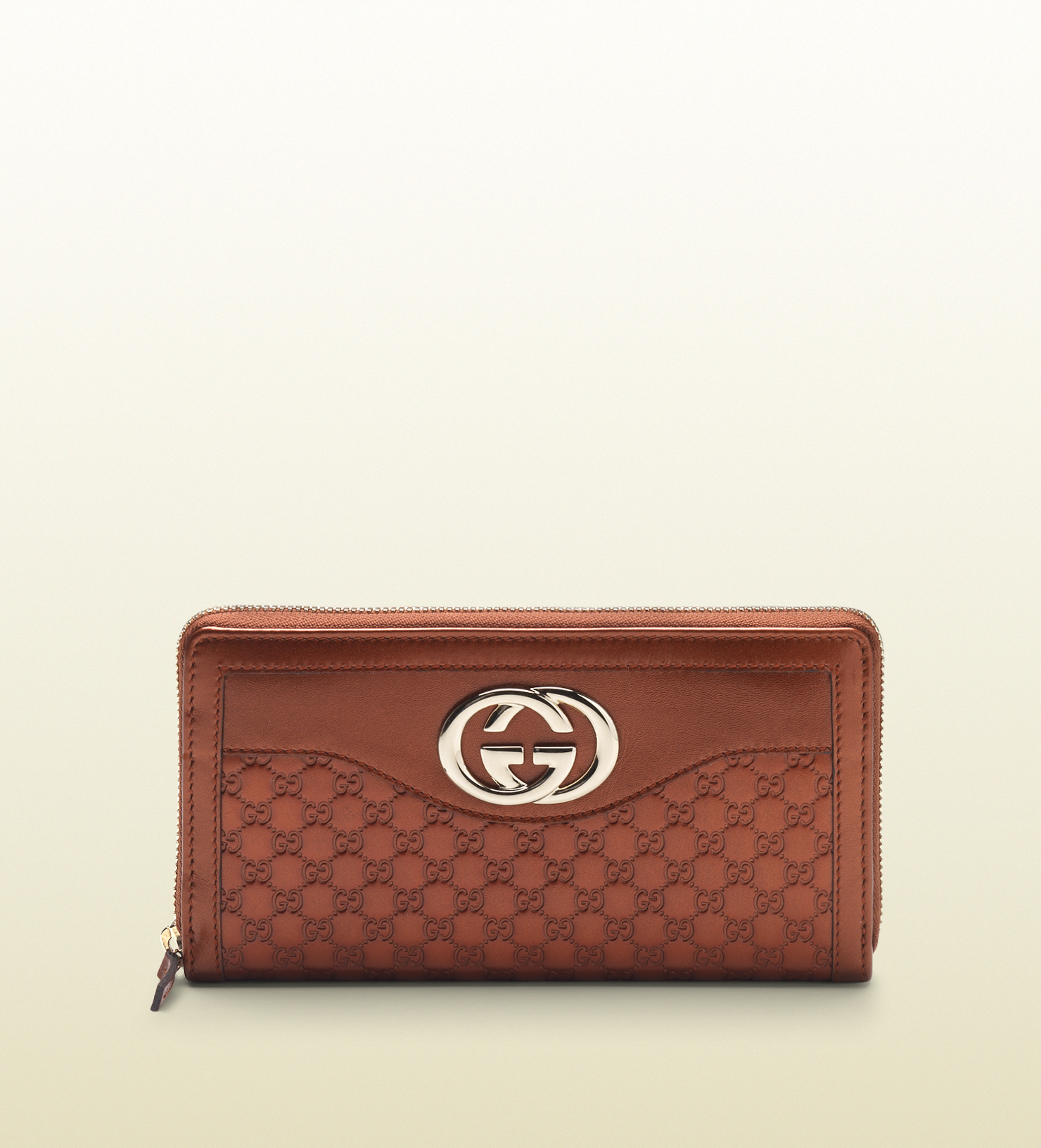 7516a86dab7 Lyst - Gucci Sukey Burnt Orange Metallic Microguccissima Leather Zip ...