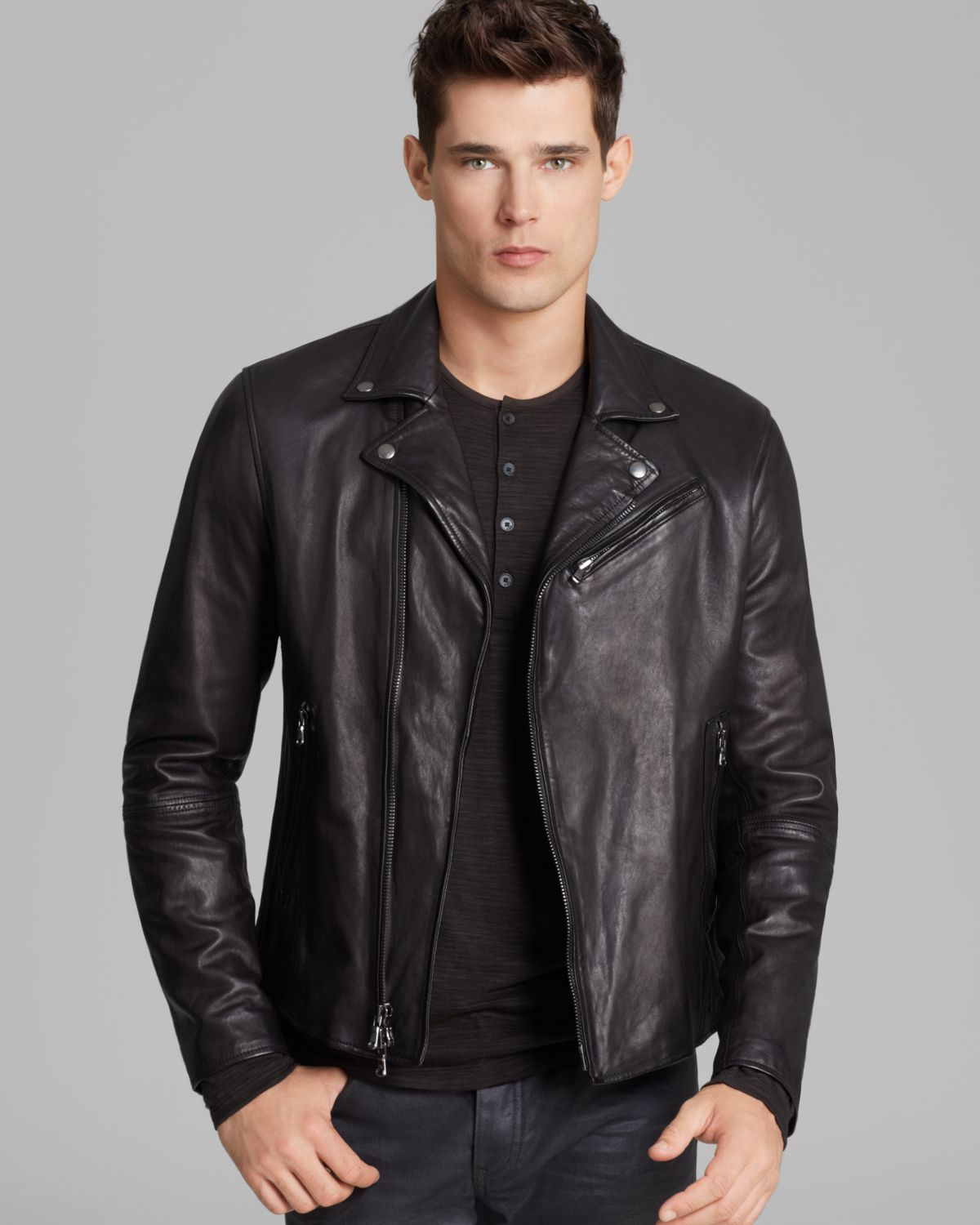 John varvatos Luxe Leather Moto Jacket in Black for Men | Lyst