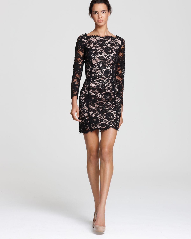 long sleeve short black lace dress « Bella Forte Glass Studio