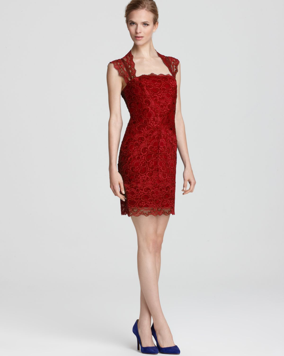 Nicole miller Dress Stretch Lace Short Open Back in Red | Lyst