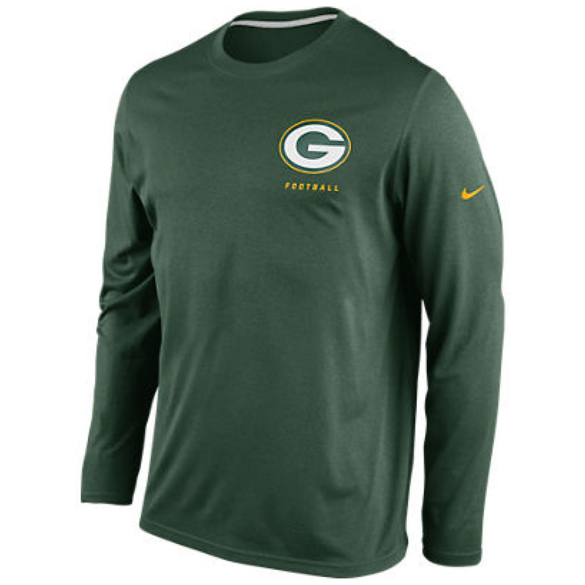 Nike Mens Long Sleeve Green Bay Packers Dri Fit T Shirt In