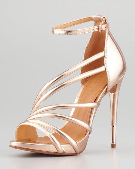 Schutz Adeline Strappy Metallic Sandal Frappe in Gold (FRAPPE) - Lyst
