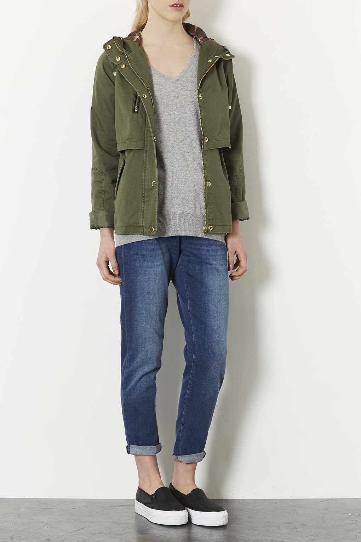Topshop Petite Lightweight Jacket in Green   Lyst