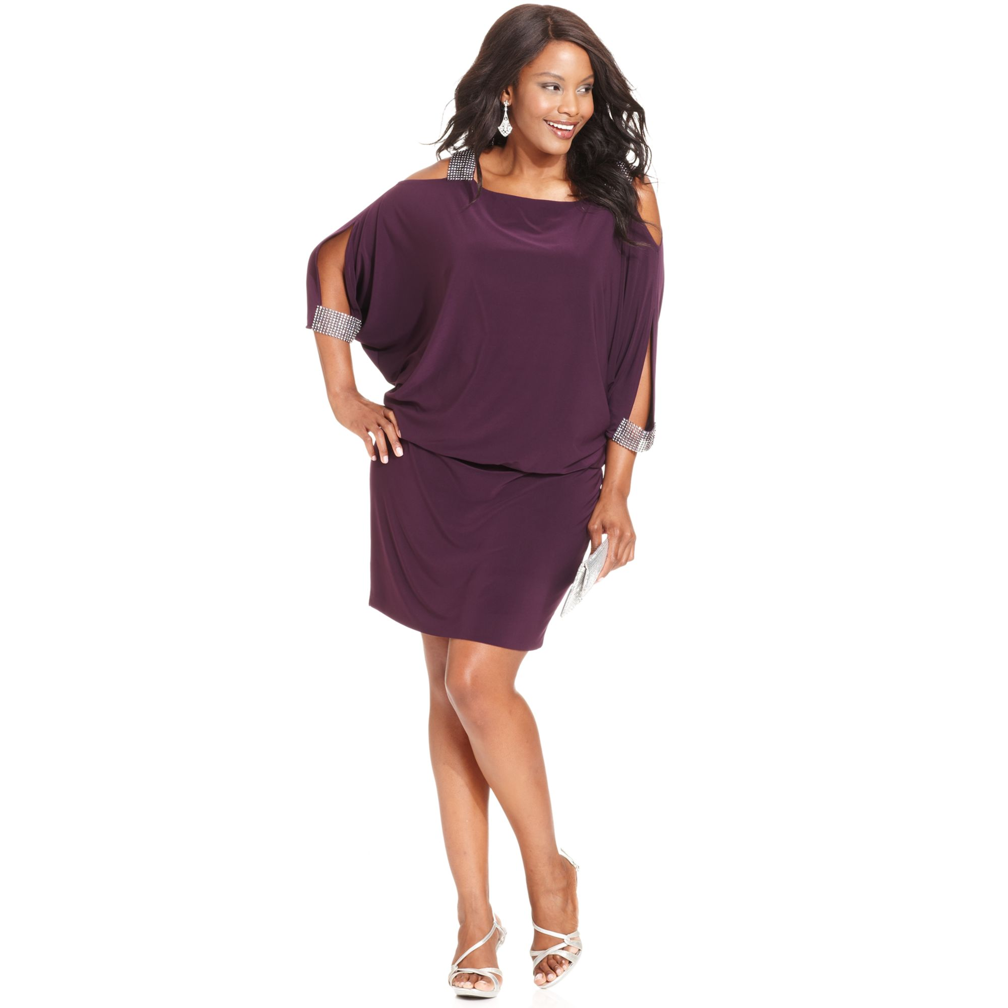 Betsy & Adam Purple Plus Size Splitsleeve Blouson Dress